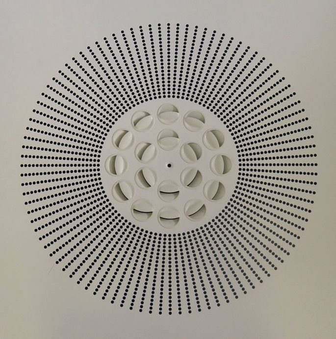 Perforated ceiling diffuser incorporating nozzles